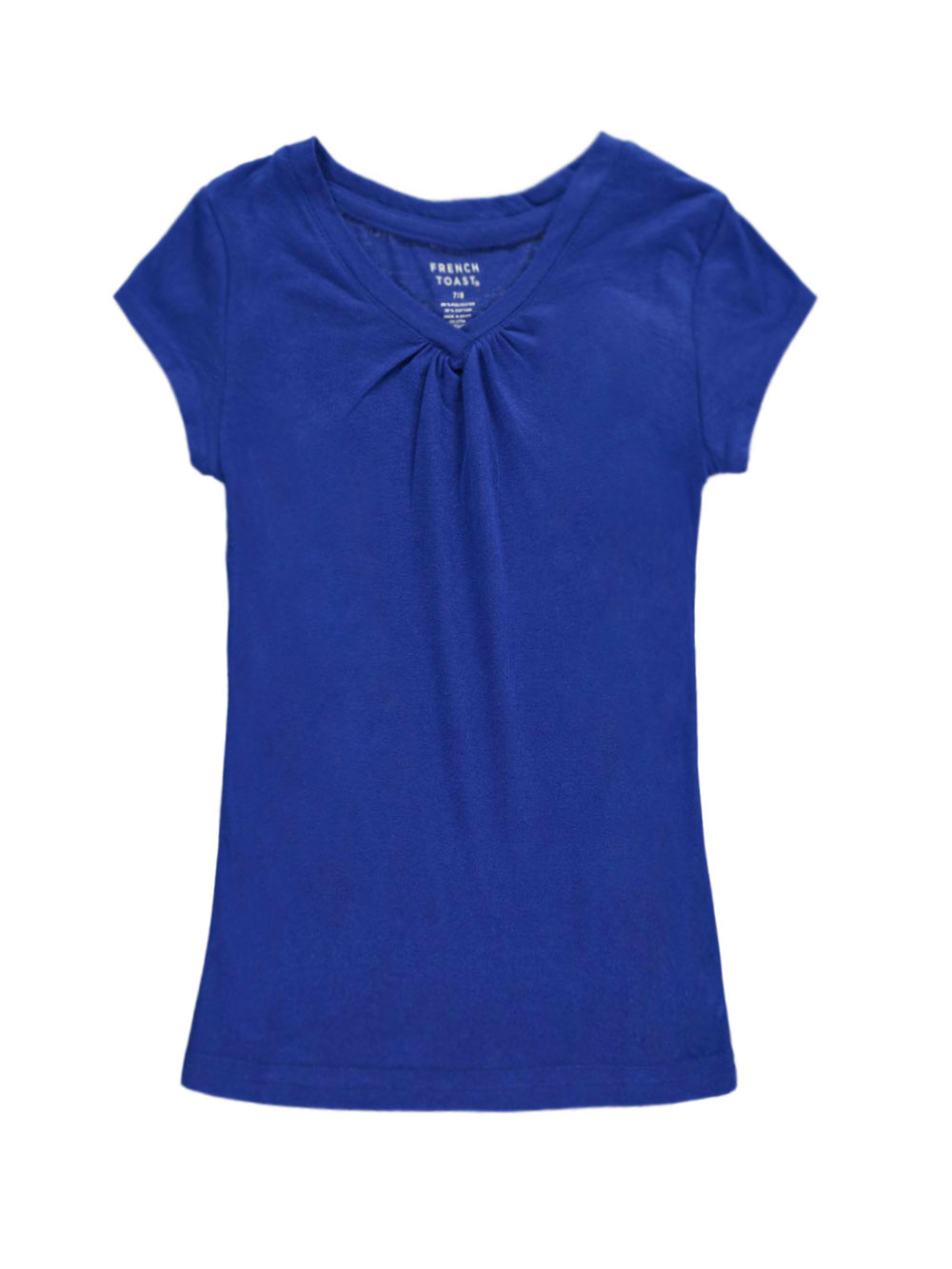 French toast big girls 39 ruched v neck t shirt sizes 7 for Large shirt neck size