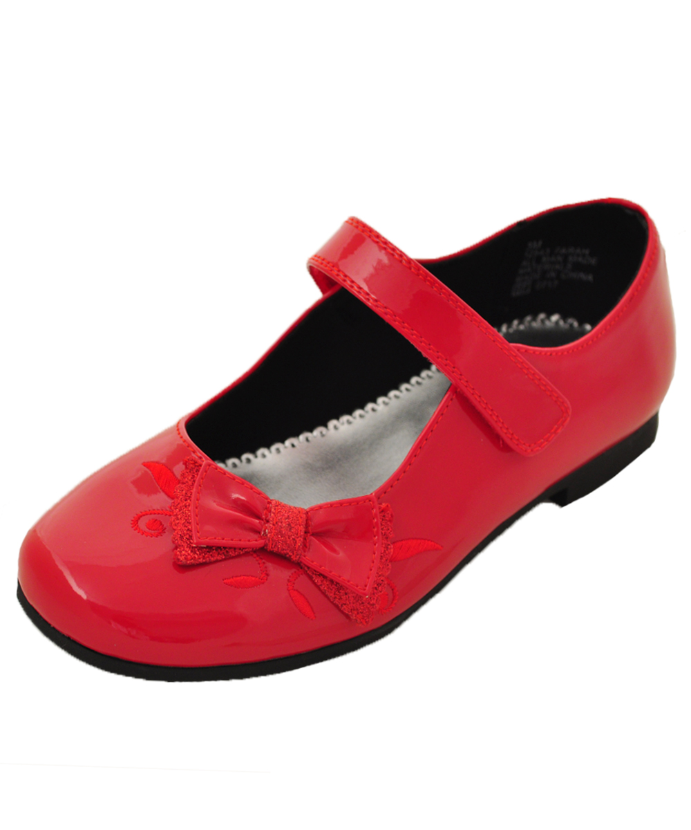 Red Shiny Flat Shoes