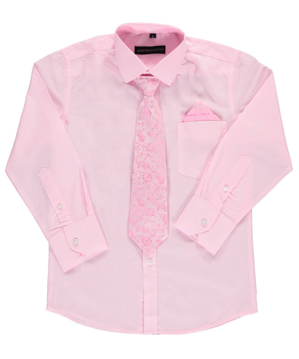 Kids World Big Boysu0026#39; Dress Shirt With Accessories (Sizes 8 - 20) | EBay