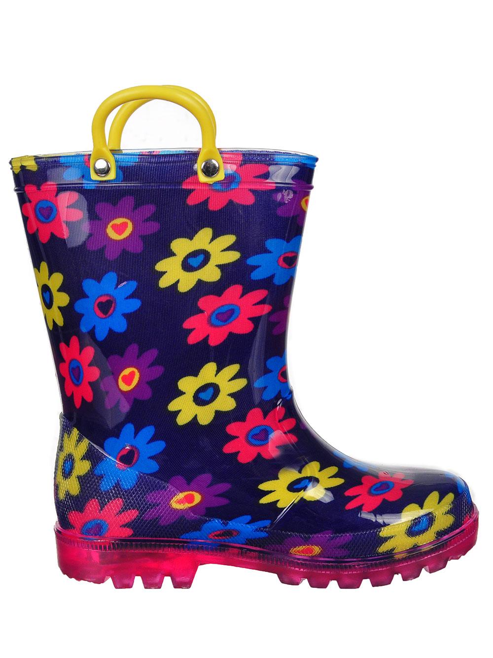 Tailles 5-12 Lilly Girls /'Light-Up Caoutchouc Bottes de pluie
