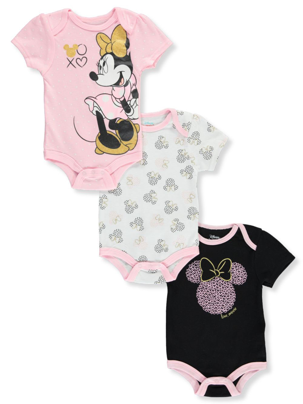 Disney Minnie Mouse Baby Girls/' 3-Pack Bodysuits